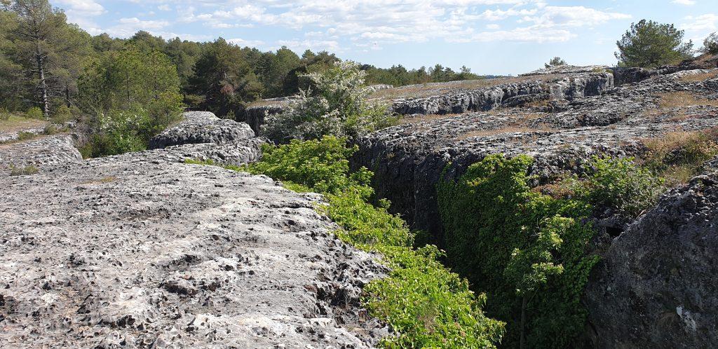 Las Majadas, parte superior como un mar de rocas